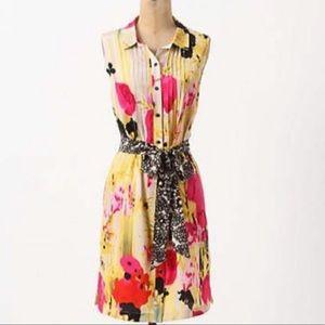 Tabitha silk multicolor flower button down dress